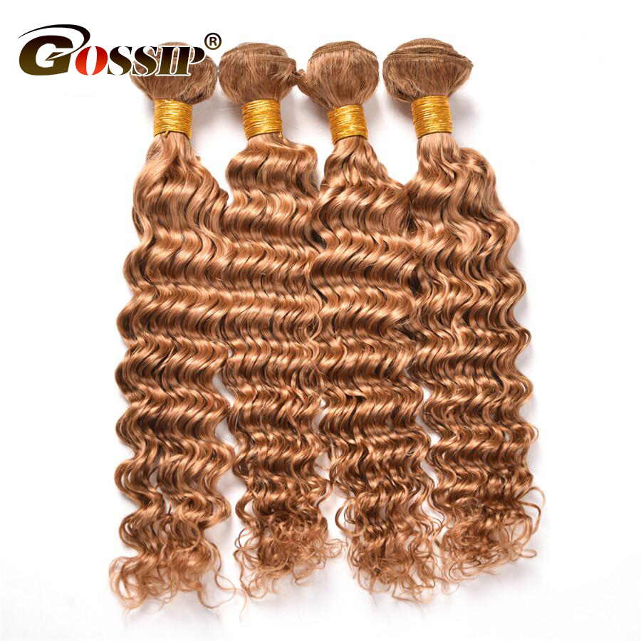 Brazilian Hair Weave Bundles Color 27 Honey Blonde Human Hair Bundles Gossip Deep Wave Hair Extensions 1PC Non-Remy Shining Star