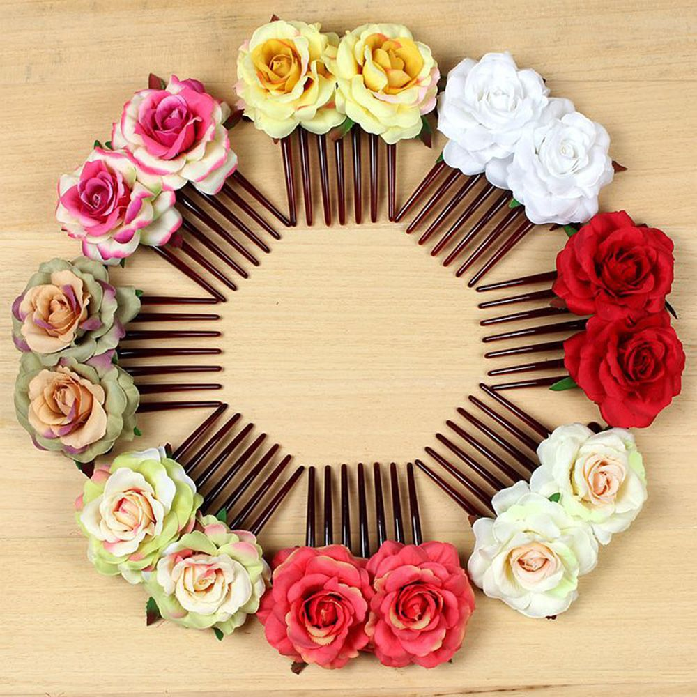 Hot Fashion Women Girl Double Silk Rose Flower Hair Comb Clip Wedding Bridal Party Hair Clip Hair Styling Tools