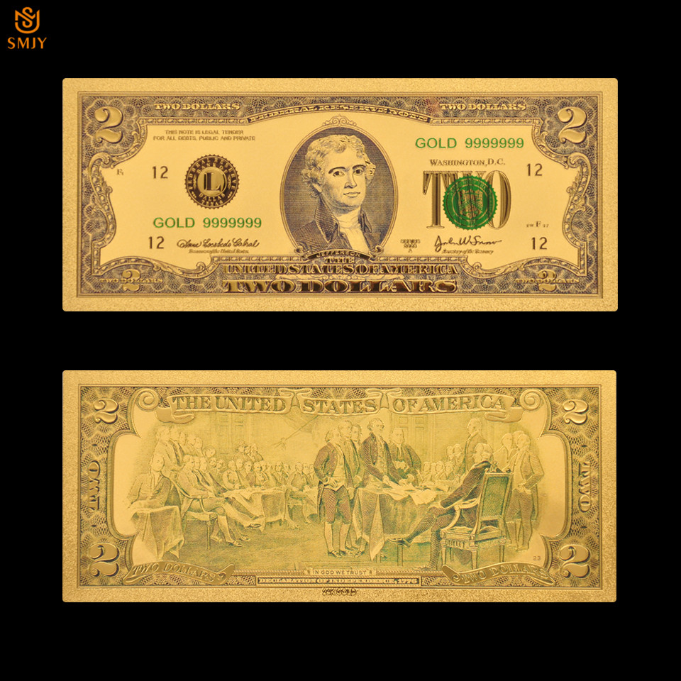US Gold 999 24K Gold Banknote 2 Dollar Fake Currency Paper Gold Plated Banknotes Paper Money Collecting
