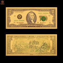 Billetes de oro de 999 y 24K, papel de moneda falsa de 2 dólares chapado en oro de EE. UU.