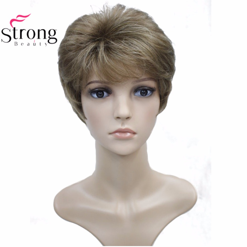 StrongBeauty Women's Synthetic Wig Black/Blond Short Straight Hair Natural Wigs