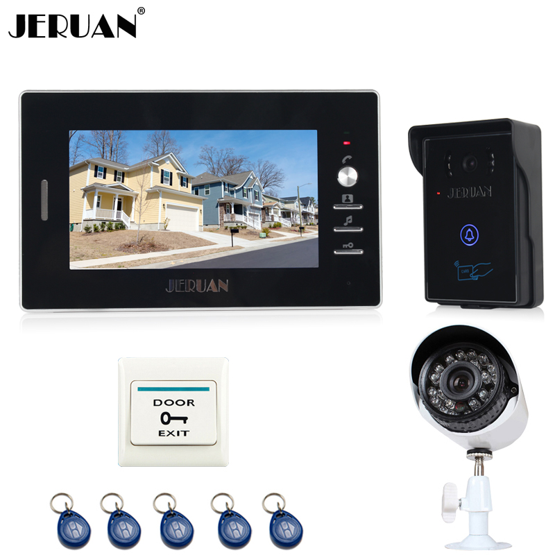 JERUAN 7`` TFT Video door Phone Intercom System waterproof touch key RFID Access Camera + 700TVL Analog Camera FREE SHIPPING jeruan home wired 7 lcd video door phone intercom system 700tvl rfid waterproof touch key password keypad camera free shipping