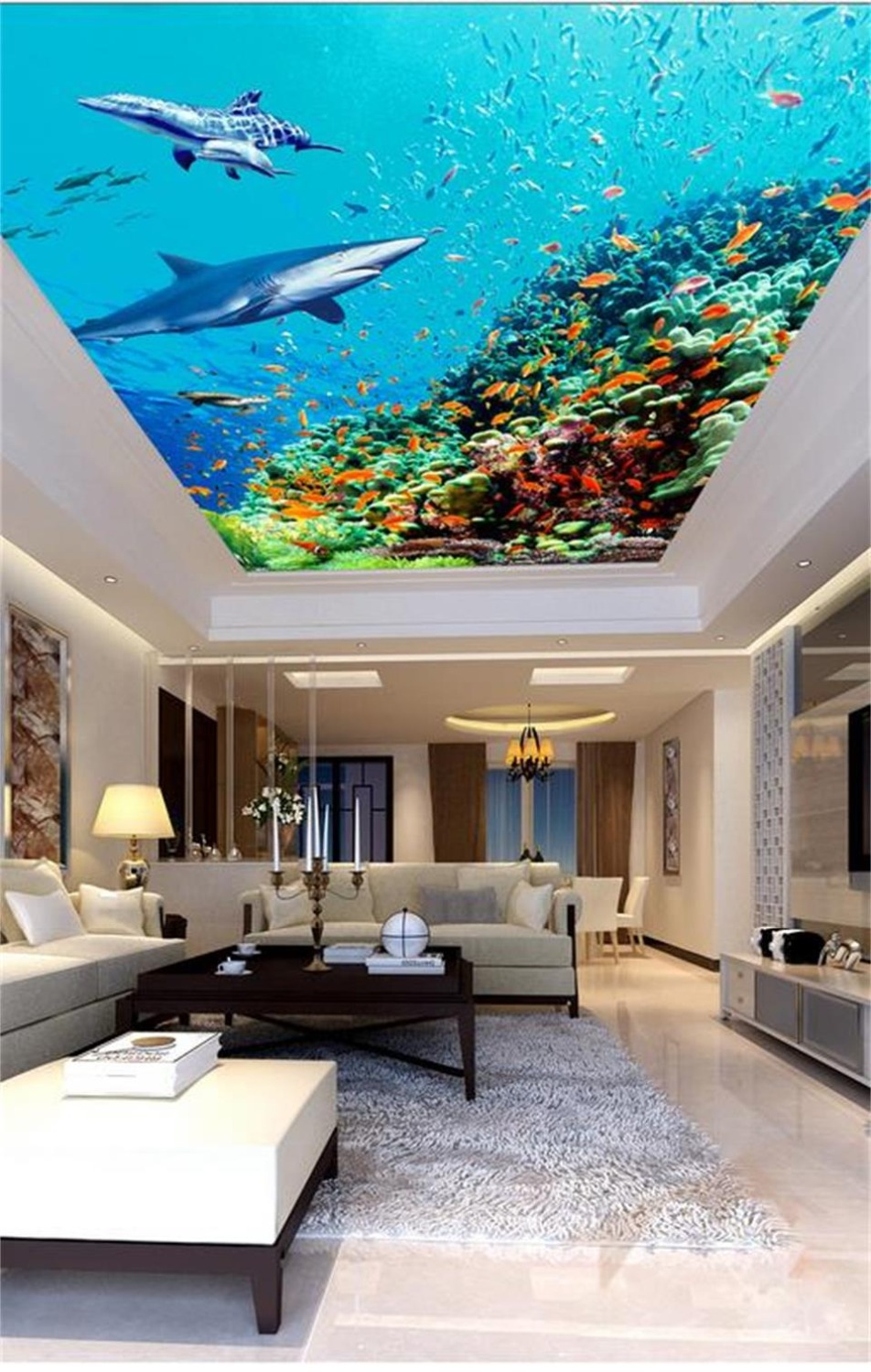 photo wallpaper custom size ceiling living room mural underwater world 3d painting background wallpaper ceiling suspended mural