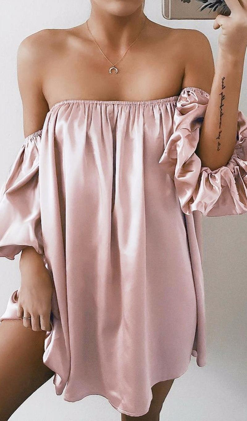 Sexy Women Short Sleeve Silk Dress Summer Off Shoulder Party Clubwear Dressess Ladies Slash Neck Loose Mini Dress Oversized