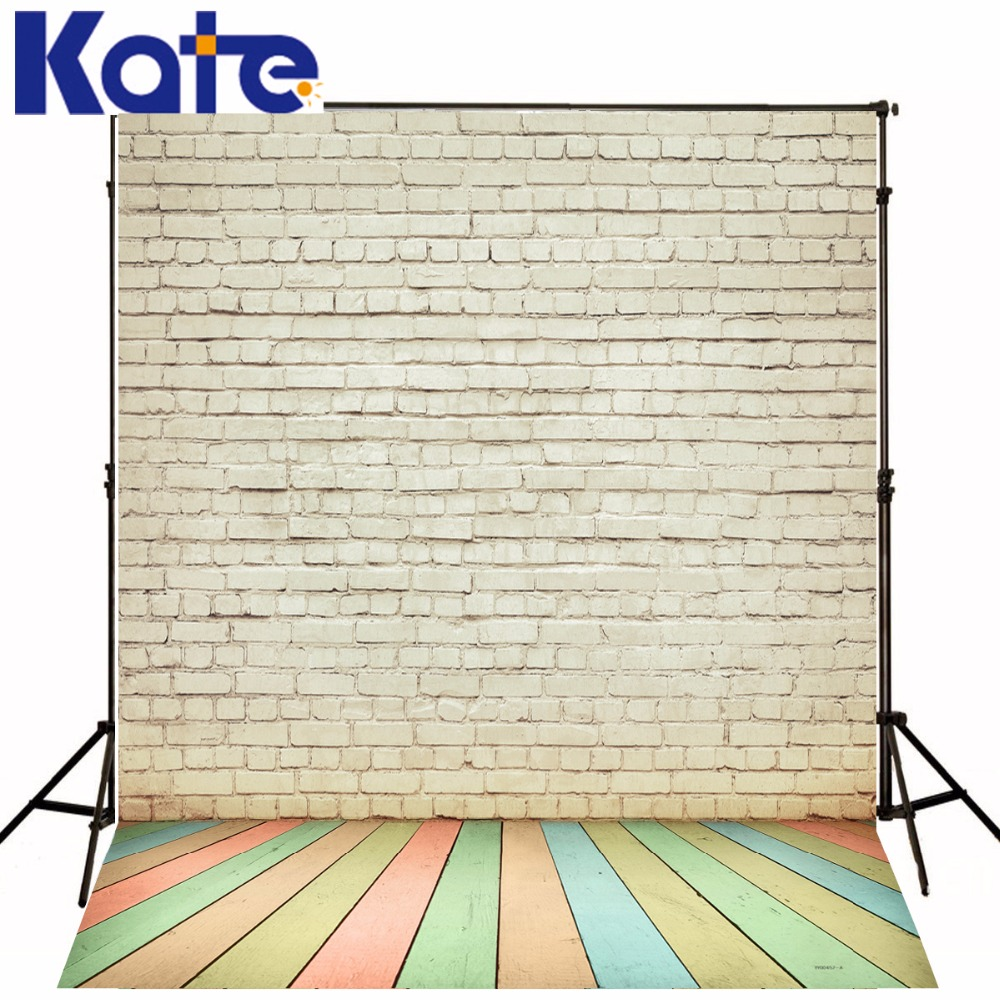 Фото Kate White Brick Wall Photography Backgrounds Colorful Wooden Photography Studio Backdrop for Children Photo Studio Photographic
