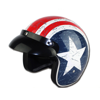 Four Seasons Motorcycle Helmet Male Electric Car Half covered Harley Sun Protection Helmet Female Red White Pattern