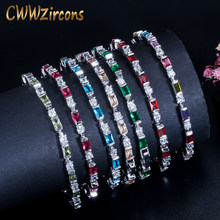 CWWZircons White Gold Color Simple Fashion Women Red Blue Green Cubic Zirconia Friendship Bracelet Femme Jewelry 2019 CB195(China)