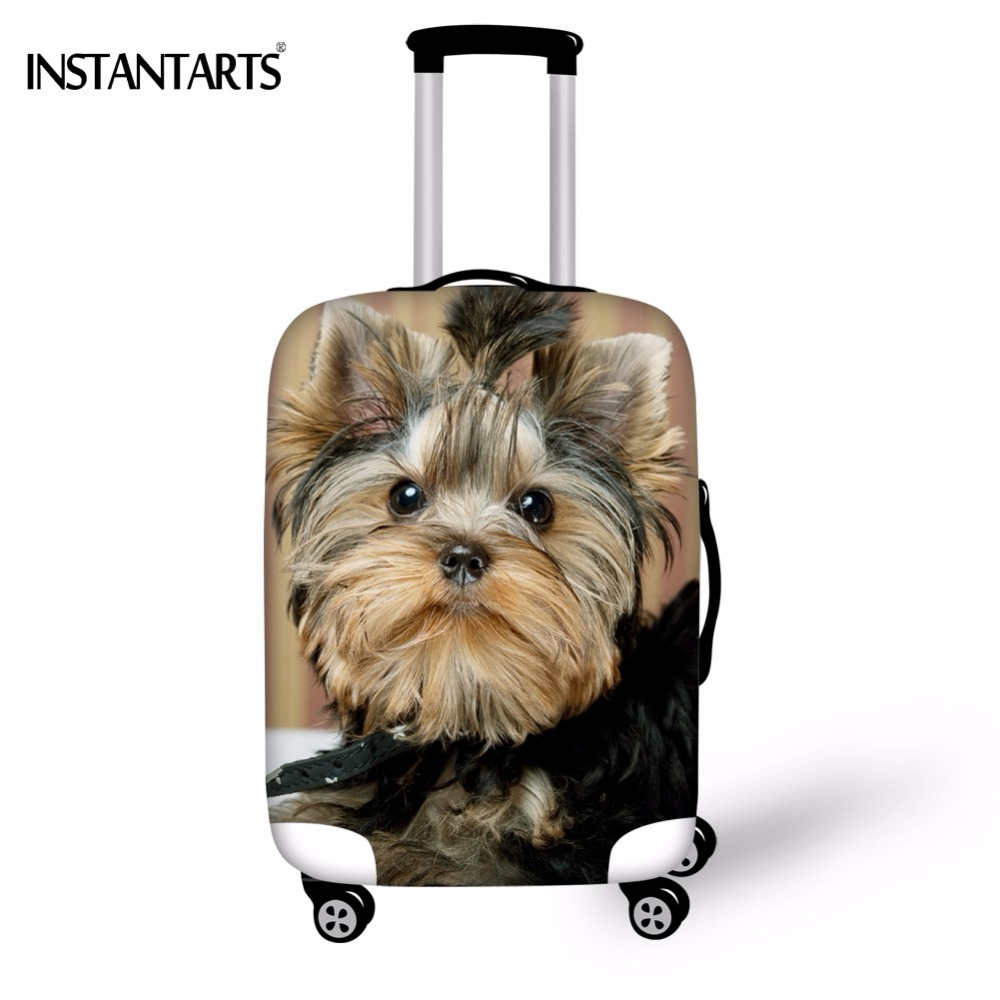INSTANTARTS Cute 3D Animal Yorkshire Dog Printed Tavel On Road Luggage Protective Covers Waterproof Thickened Dust Rain Covers