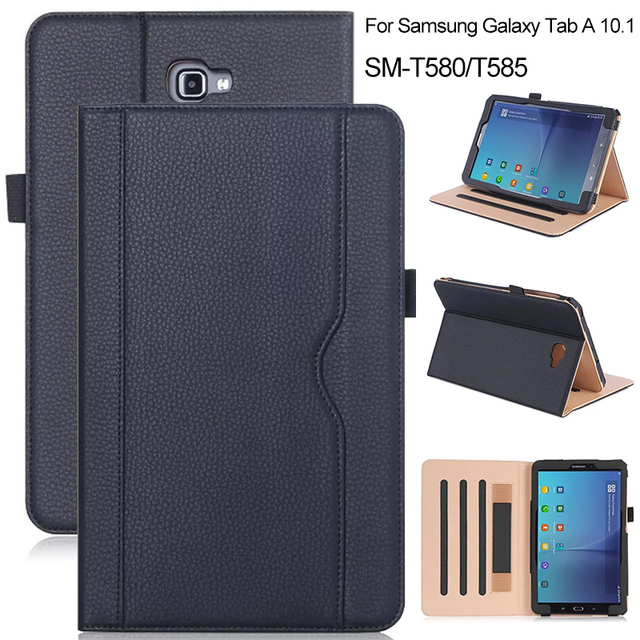 Luxury Business Style Leather Case for Samsung Galaxy Tab A 10.1 SM-T580 T585 2016 Protective Tablet Cover Gold Black
