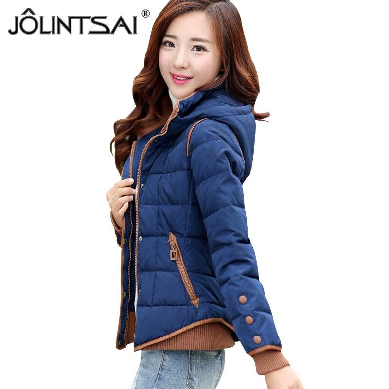 JOLINTSAI Fall Winter Parkas Jackets Women 2018 New Slim Lady Hooded Cotton Padded Jacket Short Coat Female Outwear