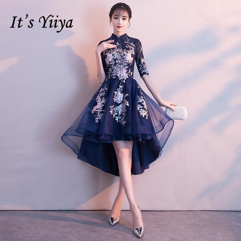 It's YiiYa High Collar Half Sleeve High-low Vintage Zipper Tea Length Formal Dresses Embroidery Party Full Porm Dress  MX002