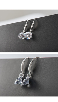 2020 Fashion jewelry 925 silver Earrings Female Crystal from Swarovskis New Woman name earrings Twins micro set 4