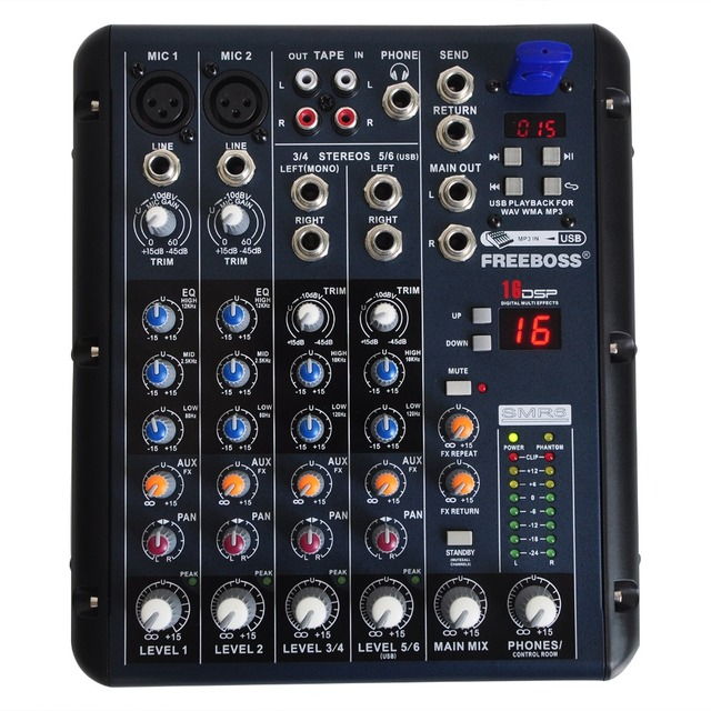 Freeboss SMR6 2 Mono + 2 stereo 6 Channels 3 Band EQ 1AUX 1 Return 16 DSP Effect USB Professional DJ Aduio Mixer Console