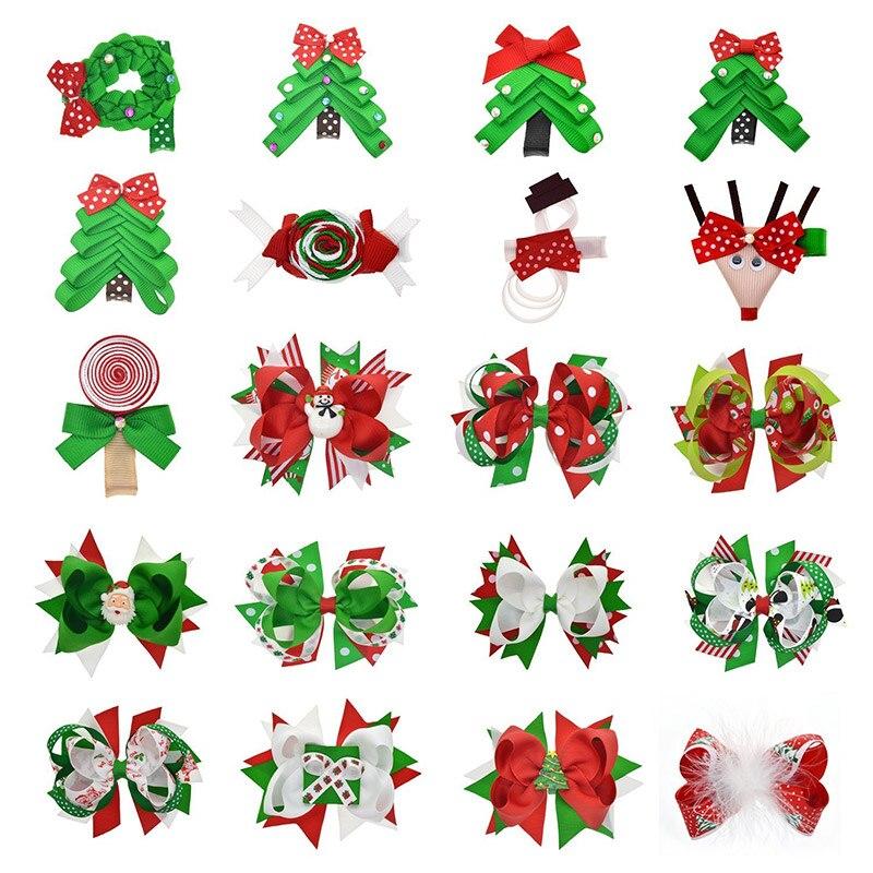 Girls Christmas Tree Santa Snowman Ribbon Hair Bows Clips Kids Fashion Party Bow Child Hairbows Christmas Gift Hair Accessories christmas snowman toy kids gift star shape candy jar