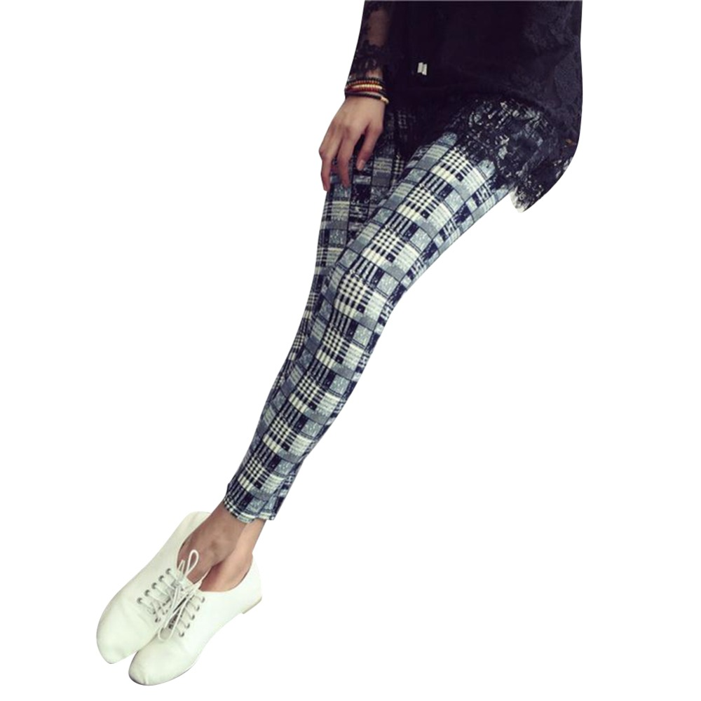 2016 Women Summer Legging Casual Print Pants Plaid Ninth ...