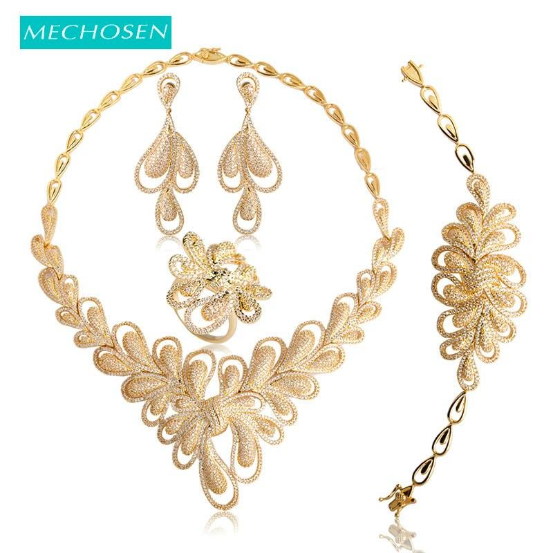 Ensembles de bijoux de mariage nigérians avec zircons cubiques classiques pour femmes, couleur or, collier en cristal, boucles d'oreilles, Bracelet