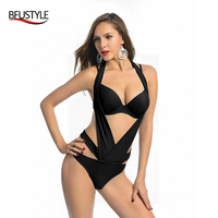 BFUSTYLE 2017 Push Up Bikini Set For Women Solid Color Bathing Suit Sexy Halter Top Swimming Suit Backless Bandage Swimwear