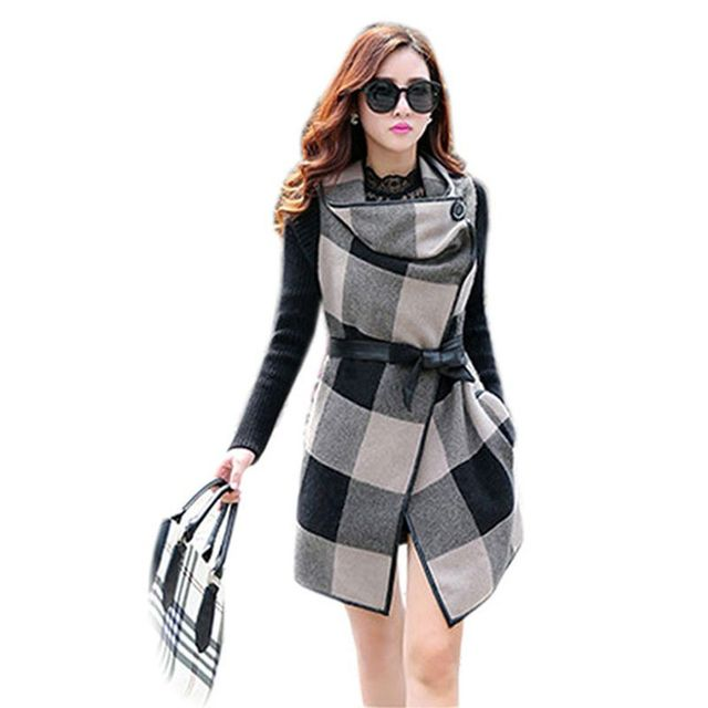 Hot Sales New Fall Fashion Women Slim Plaid Patchwork Long Wool Coat Jacket Outwear Parka