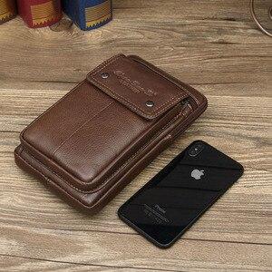 Image 5 - Erkek hakiki deri omuz çantaları küçük kare yüksek kaliteli çok fonksiyonlu askılı çanta Retro İş ofis cep telefonu St