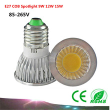 1PCS E27 COB LED Bulb 9W 12W 15W AC85-265V /110V/220V COB Spotlight LED Lamp