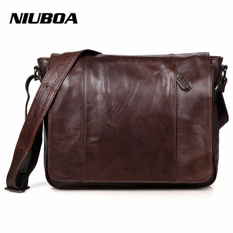 NIUBOA 100% Genuine Leather Men Messenger Bag Top Quality Casual Crossbody Bag Business Men's Handbag Bag for gift Shoulder Bags niuboa 100