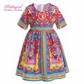 Pettigirl New Folk-Custom Causal Girl Dress With Fashion Patterm Printed Summer Kids Dress Children Clothes GD90314-696F