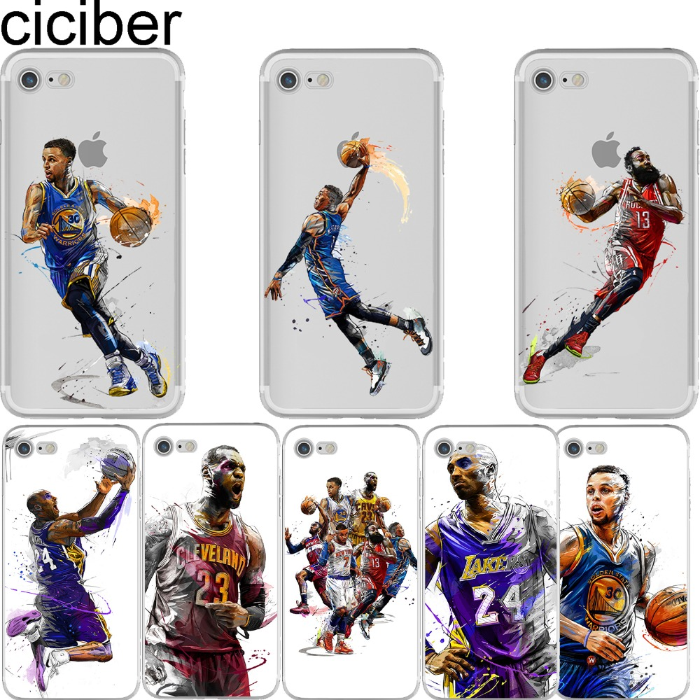 ciciber Basketball James Kobe Bryant Westbrook Harden Curry Soft Silicon Case Cover for Iphone 6 6S 7 8 Plus X 5S SE Coque Capa