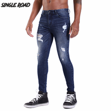 Single Road Super Skinny Jeans Men 2019 Ripped Jeans for Men Streetwear Blue Mens Stretch Denim Pants Man Slim Fit Brand Male hot sell ripped men denim jeans printed skinny pants for man brand designer clothing 100% cotton luxury casual trousers male