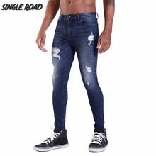 Single Road Super Skinny Jeans Men 2019 Ripped Jeans for Men Streetwear Blue Mens Stretch Denim Pants Man Slim Fit Brand Male все цены