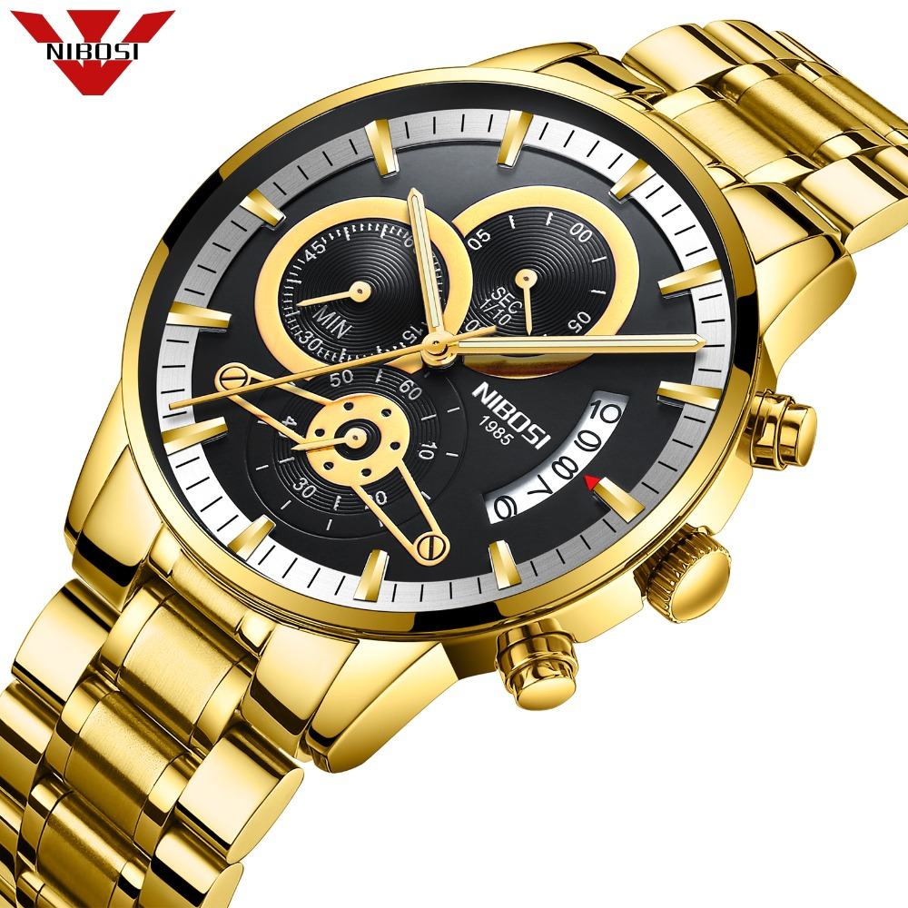 NIBOSI Chronograph Mens Watches Luxury Brand Military Sport Gold Watch Men Business Wristwatch Quartz Watch Relogio Masculino цена