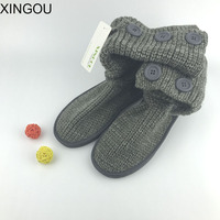 2016 New Fashion Female Boots Plush Length Snow Shoes Soft Knitting Warm Winter Boots Slip Resistant