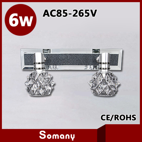 ФОТО Novelty Lustres Home Stainless Steel Bedroom Wall Lighting 320mm*60mm 6W 2 Heads Crystal Lampshade Led Bracket Lamp AC85-265V