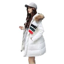 2016 Winter New Han edition Coat Women fashion Long-sleeved Medium Long Loose Show Thin Pure Color Hooded Down Jacket G1943