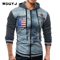 WSGYJ Brand 2017 Hoodie Zipper Printing Cardigan Hoodies Men Fashion Tracksuit Male Sweatshirt Off White Hoody