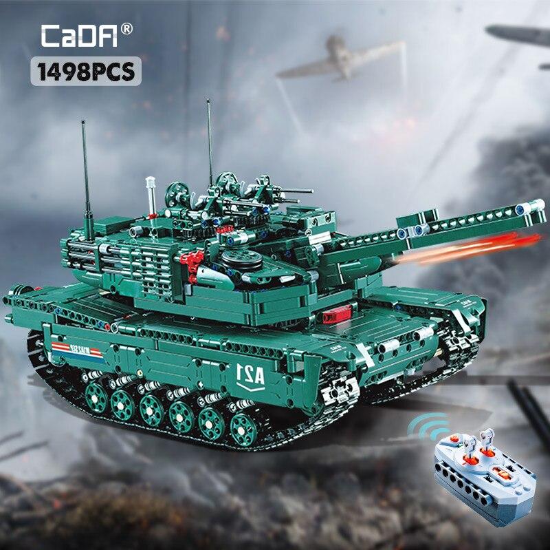 Cada 1498CPS RC militar M1A2 modelo de tanque bloques de construcción de Control remoto coche Compatible legoing WW2 juguetes técnicos para niños