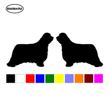 HotMeiNi 12CM 2 Bearded Collie Dog Breed RIGHT LEFT Silhouette Vinyl Decals Car Stickers Bumper Car Accessories Black/Sliver