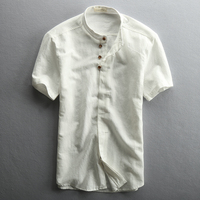 Summer Men Flax Short Sleeved Shirt Linen Retro Stand Collar Chinese Style Thin Section Half Sleeve