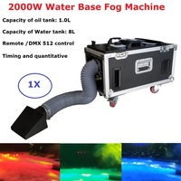 Free Shipping Small Case 2000W Water Base Fog Machine Water Mist Low Fog Smoke Machine With Hose And Outlet For Wedding Dj