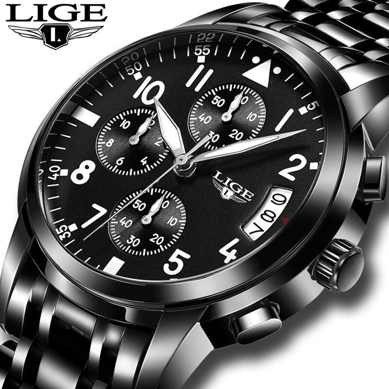Лидер продаж lige Лидирующий бренд Роскошные модные Бизнес кварцевые часы хронограф Для мужчин Спортивные часы световой мужской часы Relogio ... ...