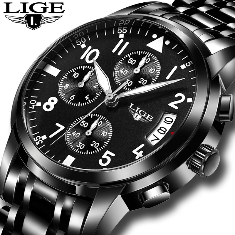 Hot Sale LIGE Top Brand Luxury Fashion Business Quartz Watch Chronograph Men Sports Watches Luminous Male Clock Relogio Masclino new listing men watch luxury brand watches quartz clock fashion leather belts watch cheap sports wristwatch relogio male gift