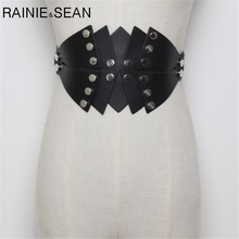 RAINIE SEAN Belts Cummerbunds Ladies Waist Belt Leather Punk Irregular Rivet Female Corset Black Belts For Women