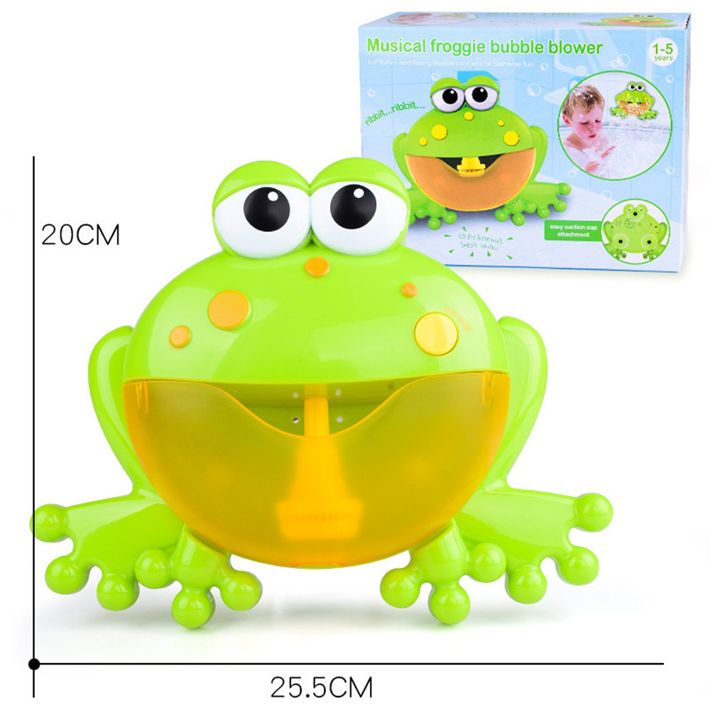 STN 16 Baby Bath Bubble Automatic Frog Bubble Maker Kids Bath Bubble Machine with 12 Music