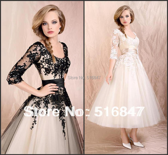 Stock New Half Sleeves Tulle Wedding Prom Dresses Ankle Length Party Dresses Beads Lace Woman's Evening Dresses Free Shipping