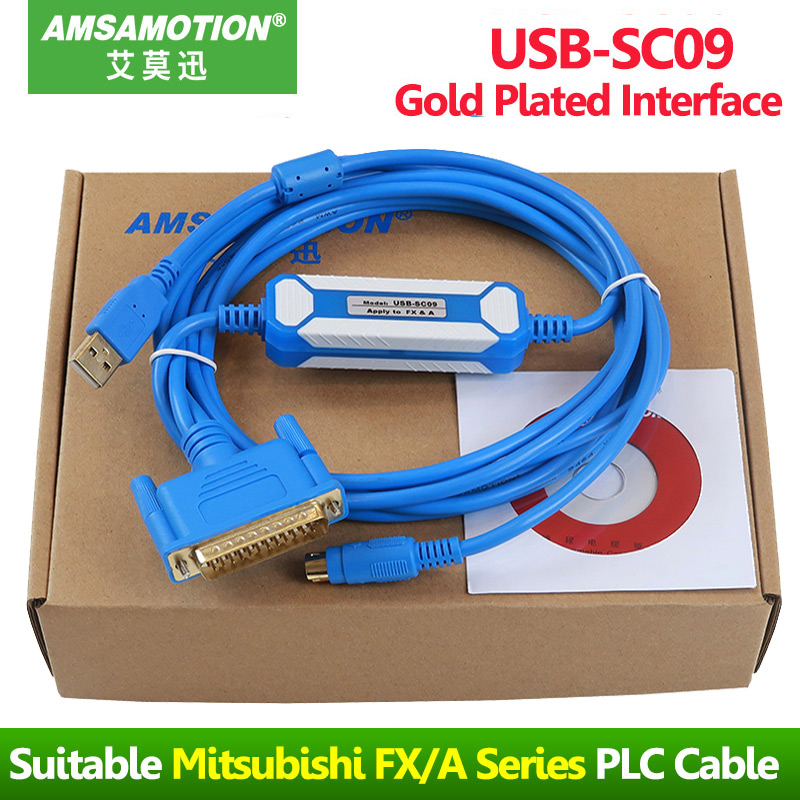 Amsamotion Gold Plated Version Programming Cable For Mitsubishi FX and A Series PLC Adapter USB-SC09Amsamotion Gold Plated Version Programming Cable For Mitsubishi FX and A Series PLC Adapter USB-SC09