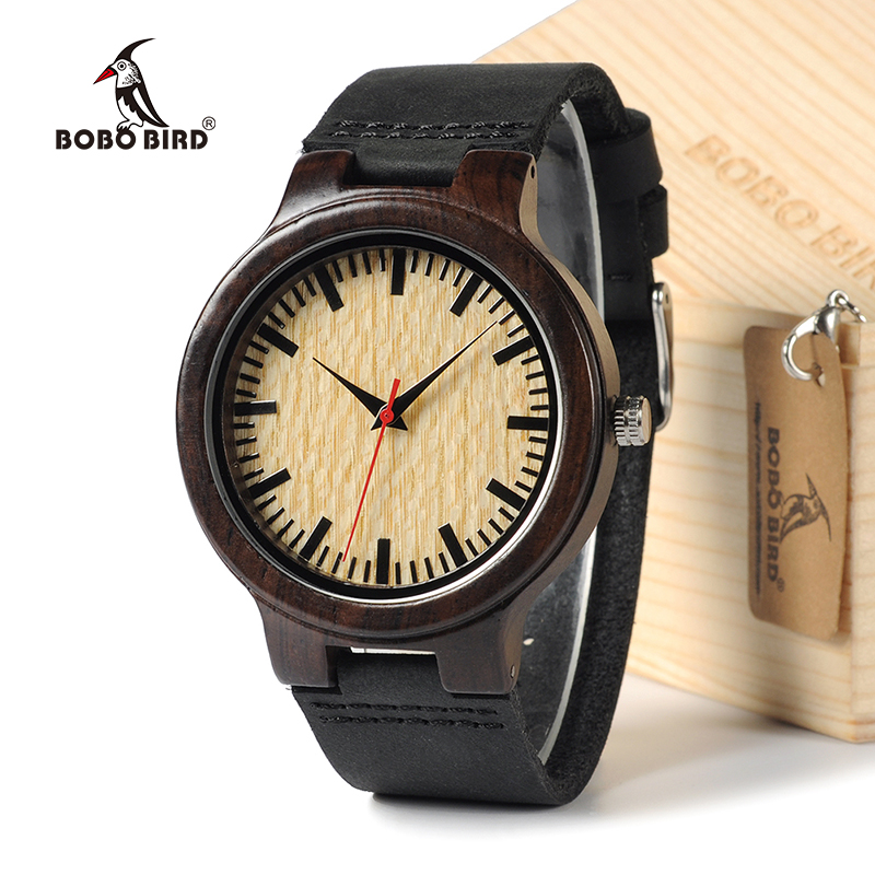 BOBO BIRD C23 2016 Natural Bamboo Ebony Wood Quartz Analog Wristwatch For Men Top Brand Luxury Watches In Gift Box