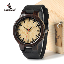 BOBO BIRD C23 Natural Bamboo Ebony Wood Watch Men Quartz Ana