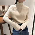women Winter autumn elastic slim thicken knitted pullover turtleneck sweater female solid color top thread basic sweater