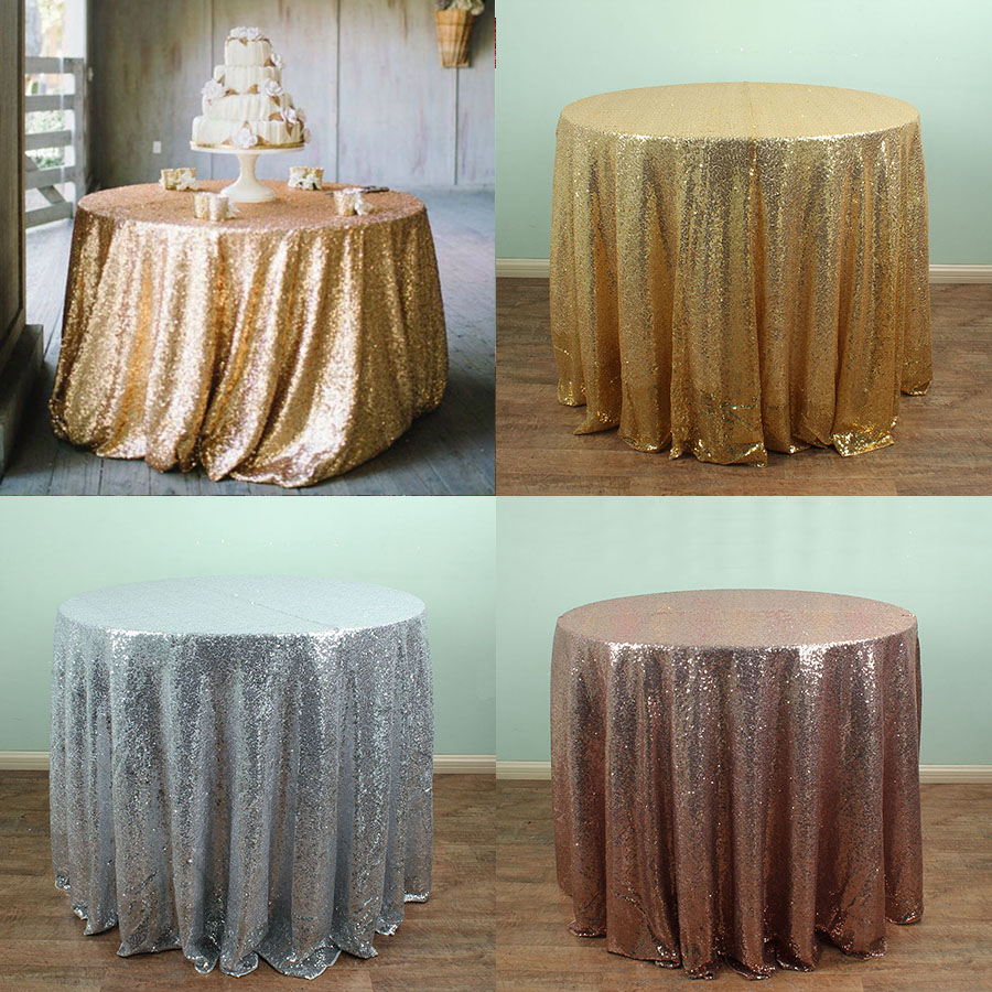 round gold silver sequin tablecloths table linens overlays wedding party table sparkly glitz