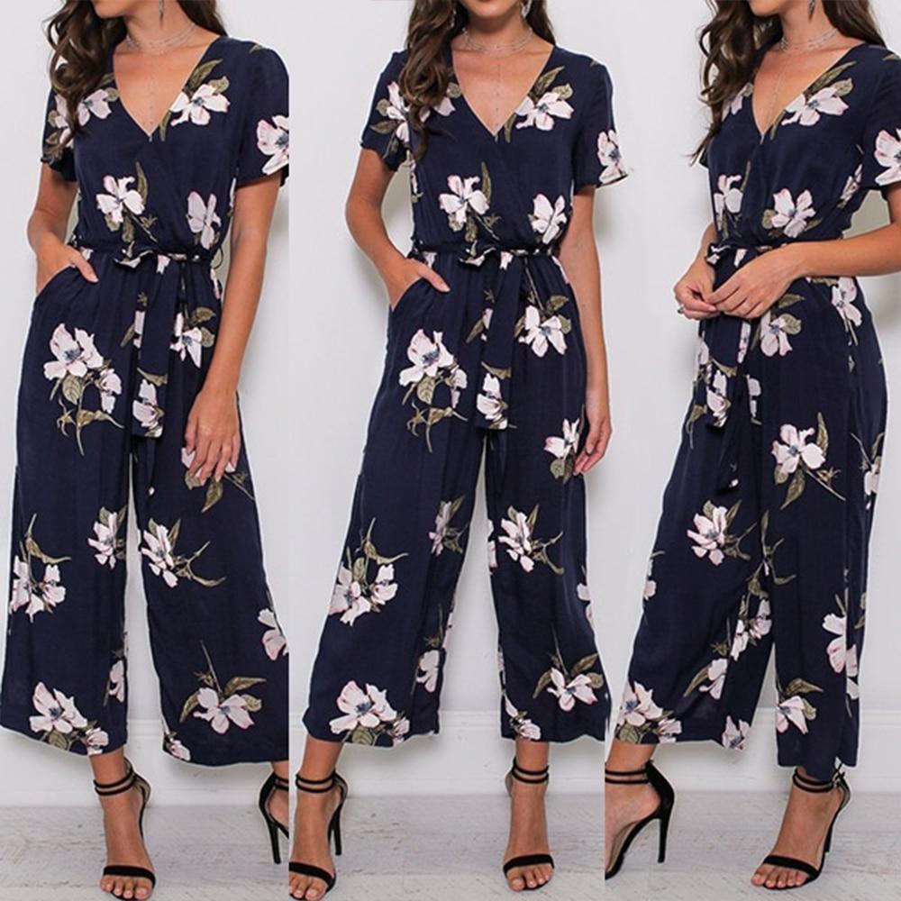 Women V Neck Loose Playsuit Ladies Party Romper Plus Size Short Sleeve Floral Print Long Jumpsuit