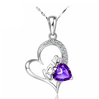 2color women fashion necklace love letter heart shape cz